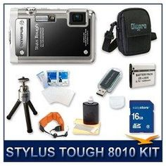 Olympus Stylus Tough-8010 Digital Camera Black, 14 MP, 28mm 5X Optical Zoom, 2.7 LCD Screen, Waterproof to 33`, 16 GB Memory Card, Card Reader, Li-ion Battery, Deluxe Carrying Case, Tripod, Screen Protectors, Floating Camera Strap, and Lens Cleaning Kit $189.00