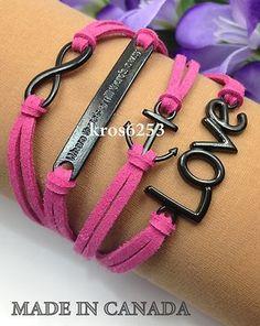 Womens Charm Bracelet Infinity Love Anchor Where There A Will Pink Velvet K850b