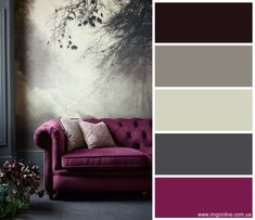 New Living Room Paint Schemes Green Grey Ideas Living Room Decor Purple, Living Room Color Schemes, Living Room Green, Colour Schemes, Paint Schemes, Living Rooms, Grey Living Room Ideas Colour Palettes, Interior Design Color Schemes, Purple Home Decor