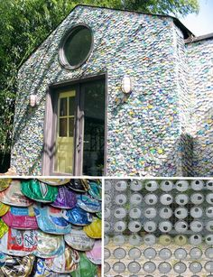 Before sending all of your beer or soda cans to the recycling center, you may want to see some ways they could be useful. Because aluminum cans are so abun Old Beer Cans, Waste Solutions, Recycled House, Homemade Beer, Beer Art, Aluminum Cans, Bottle Cap Crafts, Unusual Homes, How To Make Beer