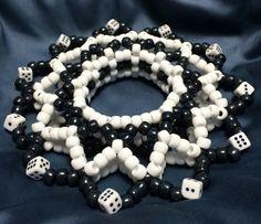 But with swirls instead of dice. Diy Kandi Bracelets, Rave Bracelets, Bead Crafts, Jewelry Crafts, Diy And Crafts, Arts And Crafts, Kandi Mask, Kandi Cuff, Rave Candy