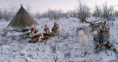 All Aboard! The Sleigh Ride will be on BBC4 on December 24 at 8pm. Abive, Sami people sit around a fire