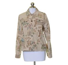 Coldwater Creek Beige Blue Pink Cotton Canvas Artsy Floral Print Jacket Size S #ColdwaterCreek #BasicJacket