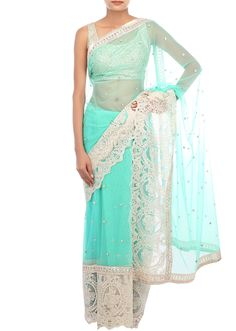 Mint saree embellished in zari embroidery and gotta patti only on Kalki