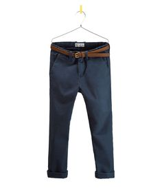 Image 1 of CHINO STYLE JEANS WITH BELT from Zara