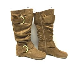 Journee Collection Hidden Wedge Boots Size 7 Good condition in camel color. Tiny tiny spot as pictured. Size 7, hidden wedge. Journee Collection Shoes Winter & Rain Boots