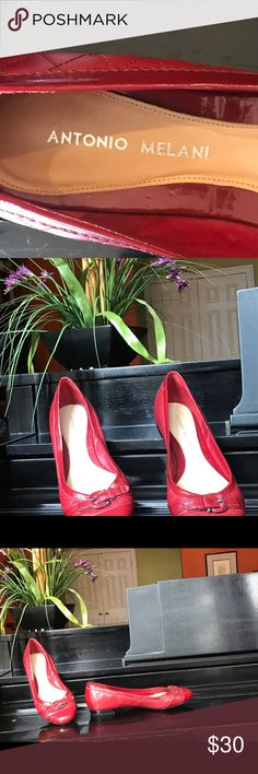 Antonio Melani ballet flats Chic Antonio Melani red quilted leather & patent leather ballet flats with a patent leather buckle over the front toe. The perfect shoe to wear with just about anything! Like new; worn just a few times. ANTONIO MELANI Shoes Flats & Loafers