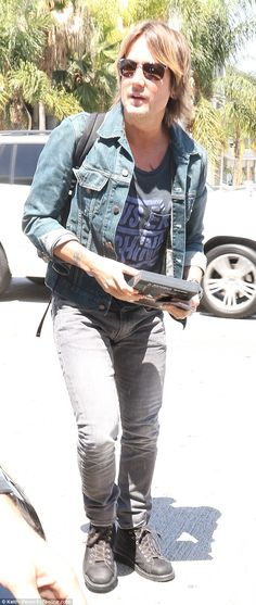 double denim! Keith Urban  wearing jeans and denim jacket