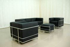 Le Corbusier Sofa Set: sofa, chair and ottoman