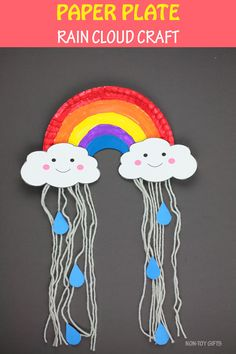 Paper Plate Rain Cloud Craft For Kids - Template Available