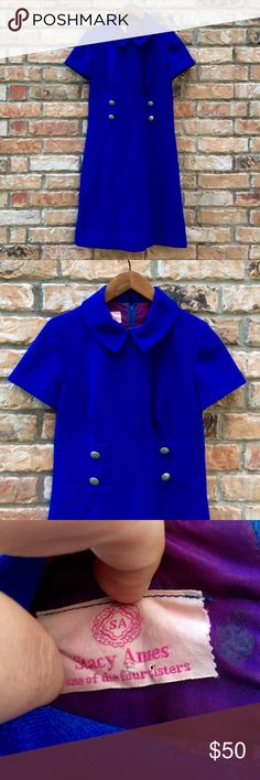 """Vintage 1960s Stacy Ames blue polyester dress Vintage 1960s Stacy Ames blue polyester Peter Pan collared dress. Great condition. No flaws. Measurements: 33"""" bust; 30"""" waist; 34"""" hips; 40"""" length. Some stretch. Vintage Dresses Midi"""