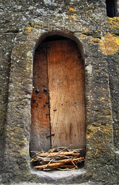 Lalibela, Amhara region, Ethiopia: door in the rock wall around Bet Medhane Alem church