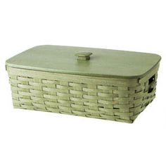 "Medium Stow Away Basket The Medium Stow Away Basket has two set-in side handles and a Protector with cut-outs for the handles to give this storage basket added functionality. The traditional Longaberger maple weave looks amazing wherever it sits. Protector and WoodCrafts Lid available separately. Integrates with the Woven Traditions® 8"" x 8"" Baking Dish and Lid. Made in the U.S.A. 19 1/4""l x 11 3/4""w x 6 5/8""h; Rec. Wt. Use: 30 lbs."