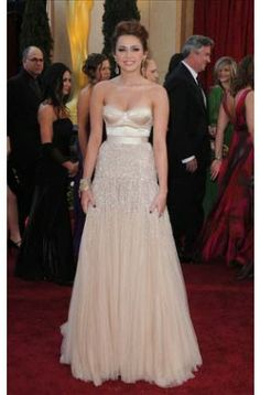 Miley Cyrus Champagne Prom Dress 82nd Oscar Awards Red Carpet Formal Dress - TheCelebrityDresses