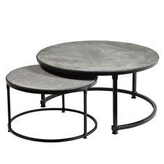 Salontafel set/2 Menno betonlook/metalen onderstel