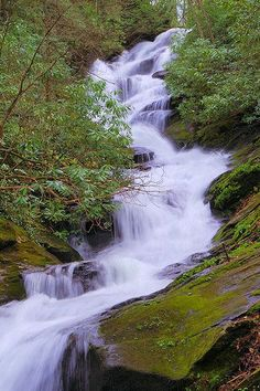 Roaring Fork Creek Falls in Pisgah National Forest in the North Carolina mountains is near Blue Ridge Parkway and Mt. Beautiful Waterfalls, Beautiful Landscapes, North Carolina Waterfalls, Waterfall Hikes, Les Cascades, Mont Saint Michel, Blue Ridge Mountains, Sunset Photography, Nature Pictures