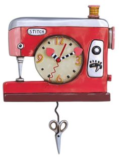 """Allen Designs Double Stitch Sewing Machine Pendulum Wall ClockMeasures heart clock hands Swinging SCISSORS pendulum Cast in resin, finished by hand Requires """"AA"""" battery (not included) Designed by artist Michelle Allen Sewing Room Decor, Sewing Rooms, Pendulum Wall Clock, Wall Clocks, Sewing Machines Best, Deco Retro, Wall Clock Design, Sewing Studio, Sewing Basics"""