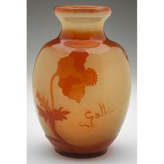 """Emile Galle (1846-1904), Poppy vase, France, cameo cut and fire polished glass, signed, 5""""dia x 7.5""""h (hva)"""