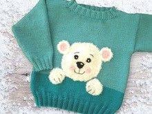 Babypulli Eisbär Strickanleitung für Größe 80/86 und 92/98