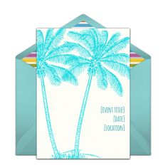 Customizable, free Palm Trees online invitations. Easy to personalize and send for a party. #punchbowl