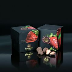 Gulliver Gourmet Selection, Belgian 72% Dark chocolate cover freeze dried whole Strawberries..