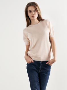 Soft Goat SS15 Short Sleeve Cashmere Top in Powder Pink