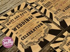 http://www.fromsallywithlove.co.uk. #Circus and #western themed wedding #invitations with tea stained paper and big circus stripes #wedding #stationery #Invitations #fun #quirky #retro #different #somerset #Batcombe #southwest #UK