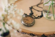 Patiently Waiting-a rustic baby shower with pretty clock details