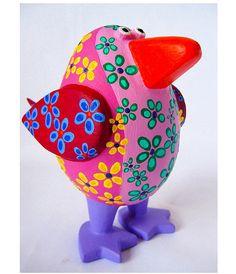 Red-violet papier mache bird sculpture by Petey & Co. Paper Mache Diy, Paper Mache Projects, Recycled Art Projects, Paper Mache Sculpture, Bird Sculpture, Paper Crafts, Diy Crafts, Sculptures, Paper Mache Animals