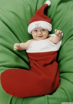 Cheerful Baby In Christmas Stockings ❥❥❥ http://bestpickr.com/cute-baby-girls-boys-photos