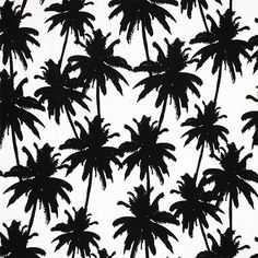 """Black Palm Stree Silhouettes on White Cotton Spandex Knit Fabric - Love this print! Black silhouettes of palm trees on a white top quality cotton spandex knit. Fabric is medium weight with a nice soft hand, and good 4 way stretch. Palm trees measures 5"""". :: $7.00"""