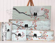 Amor de los pájaros muestra de madera boda por LindaFehlenGallery