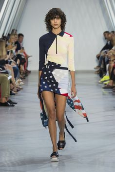 American flag during the #LacosteSS16 fashion show. © Yannis Vlamos