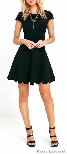 You won't need a picture to prove how cute you look in the Proof of Perfection Black Skater Dress! Stretch knit dress with a twirl-worthy skirt ending in a scalloped hem. Fashion Mode, Look Fashion, Dress Fashion, Fashion Clothes, Fashion Outfits, Pretty Dresses, Beautiful Dresses, Bodycon, Mode Inspiration
