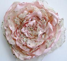 Pastel tea stained Pink Flower, Wedding accessory, Fascinator, Bridal Sash, Decor, Wall Decor, maternity sash, Black Friday, Cyber Monday #shopHandmade #boebot