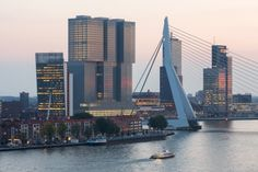 De Rotterdam building and Erasmus Bridge, the tall proud bridge seems getting smaller and smaller