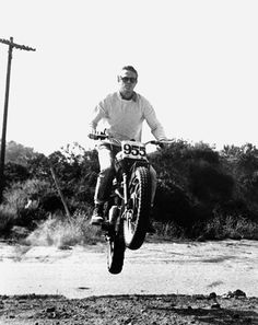 "From desert motorcycle races to iconic films, the 90 on and off-screen looks that prove McQueen truly was the ""King of Cool"" Steve Mcqueen Triumph, Steve Mcqueen Motorcycle, Steve Mcqueen Style, Girl Motorcycle, Motorcycle Quotes, Triumph Scrambler, Triumph Motorcycles, Vintage Motorcycles, Custom Motorcycles"