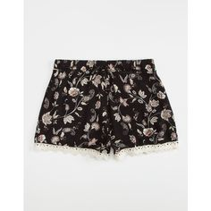 Full Tilt Floral Crochet Girls Shorts ($19) ❤ liked on Polyvore featuring shorts, elastic waist shorts, lightweight shorts, embellished shorts, crochet shorts and rayon shorts