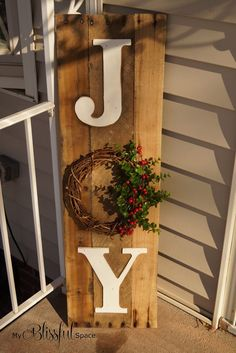 My Blissful Space: Sweater Wreath & Joy Sign {Completing Unfinished Projects!}