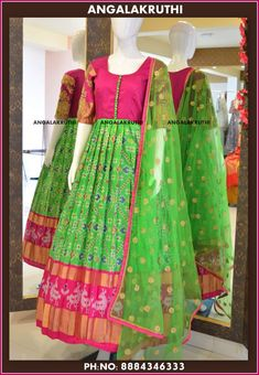 Ikkat long gown with Maggam work by Angalakruthi boutique Bangalore Ikkat silk in Bangalore Long Frocks For Kids, Frocks For Girls, Indian Gowns Dresses, Brocade Dresses, Anarkali Dress, Lehenga, Sarees, Frock Models, Frocks And Gowns