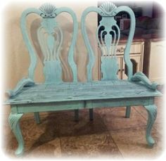 repuprosed dinning room table chairs into garden or patio bench  creation from my husband <3