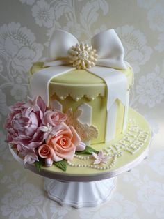 Butter Yellow Hat Box cake with peony and roses ~ all edible