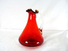 """4 1/2"""" Tall Hand Blown Red Crackle Glass Pitcher"""
