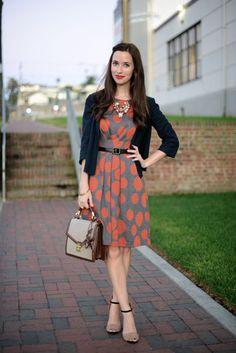 Orange dotted dress with blazer