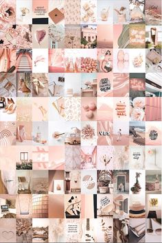 Wall Collage Decor, Bedroom Wall Collage, Photo Wall Collage, Picture Wall, Rose Gold Aesthetic, Aesthetic Light, Aesthetic Collage, Rose Gold Wallpaper, Pink Wallpaper Iphone