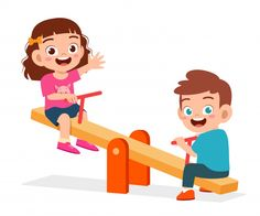 Happy cute kid boy and girl play seesaw ...   Premium Vector #Freepik #vector Happy Children's Day, Happy Kids, Art Drawings For Kids, Drawing For Kids, Murals For Kids, Art For Kids, Toy Wagon, Disney Princess Cartoons, Flashcards For Kids