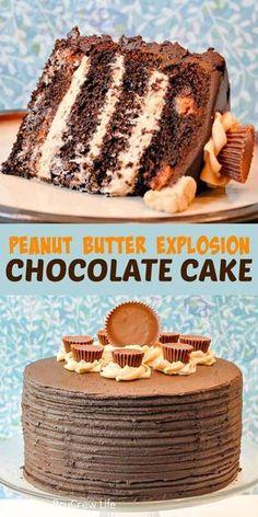 PEANUT BUTTER EXPLOSION CHOCOLATE CAKE-PEANUT BUTTER EXPLOSION CHOCOLATE CAKE