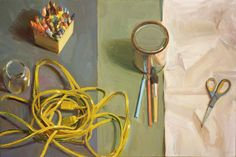 """Boyd Gavin, """"Work Surface"""", oil on canvas Work Surface, Still Life, Oil On Canvas, Book Art, The Incredibles, Paintings, Fruit, Artwork, Prints"""