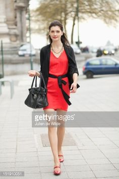 Stockfoto : Woman walking on street