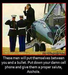 Hot Dogs & Guns: Obama Marine One Cell Phone Salute. President Obama salute's two Marines while on his cell phone as he exits Marine One.